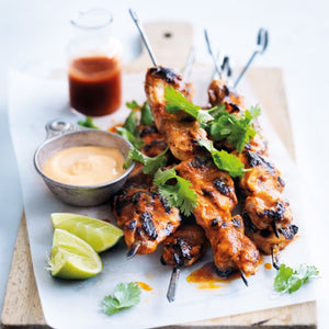 Lime and Sriracha Chicken Skewers with cabbage slaw