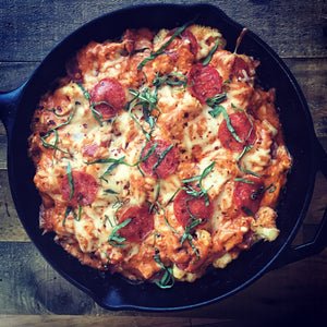 Cauliflower Pepperoni Pizza Casserole