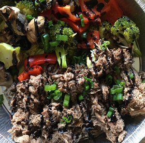 Shredded Balsamic Beef with Roasted Veggies and Kale