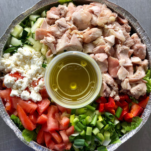 Middle Eastern Chopped Salad with Lemon Vinaigrette and Grilled Chicken