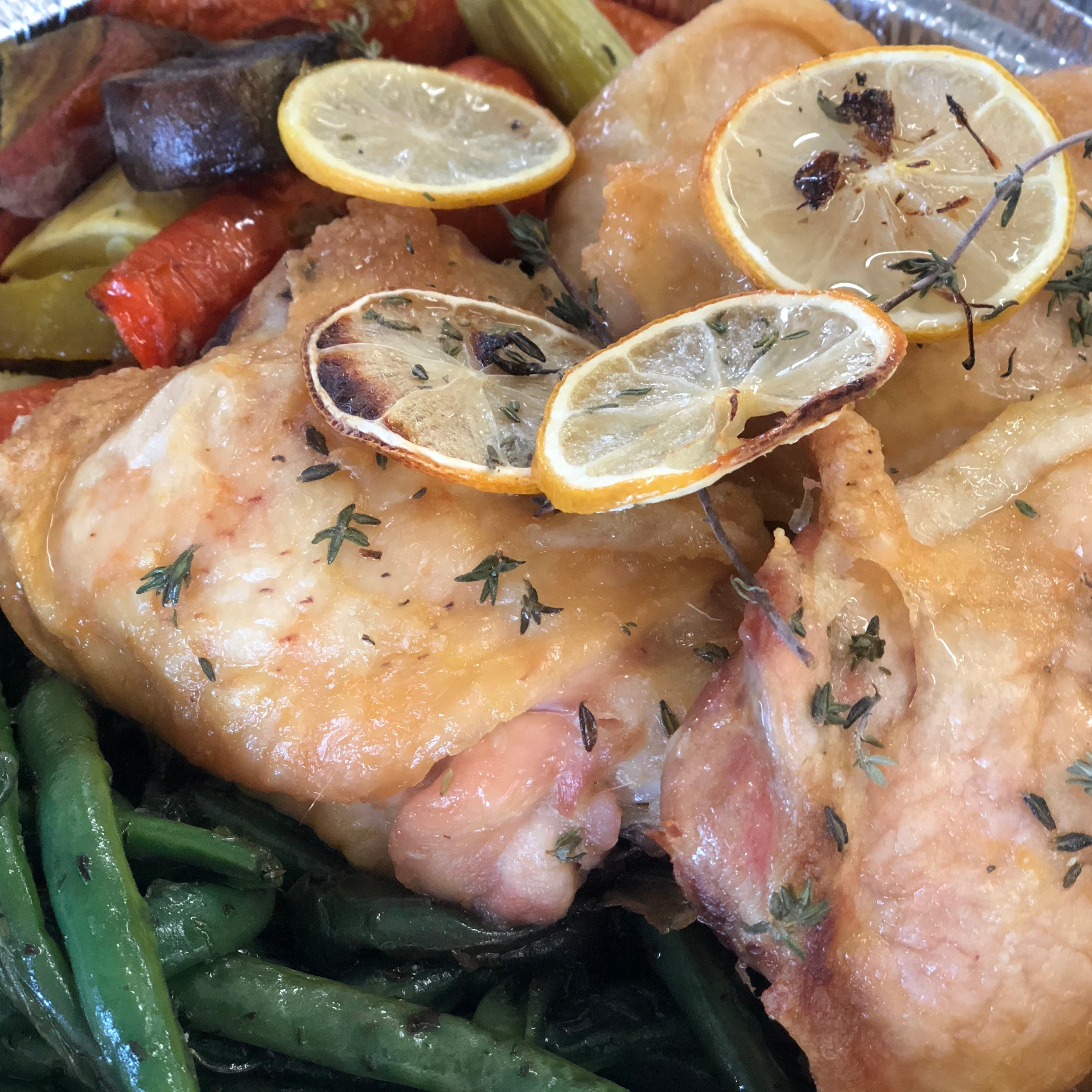 Lemon Chicken Thighs with Green Beans