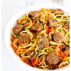 Sausage and Peppers over Zoodles