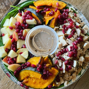 Fall harvest roasted squash, pomegranate and chicken salad