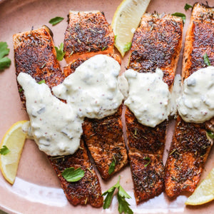 Grilled Salmon with Tartar Sauce and Roasted Broccoli