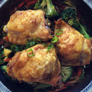 Curry-Roasted Chicken Thighs with stir-fry vegetables