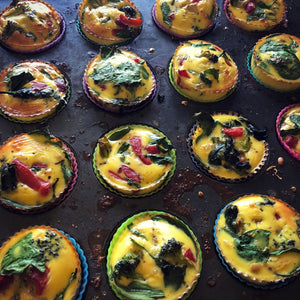 Roasted Pepper, broccoli, and Spinach, Egg Muffins