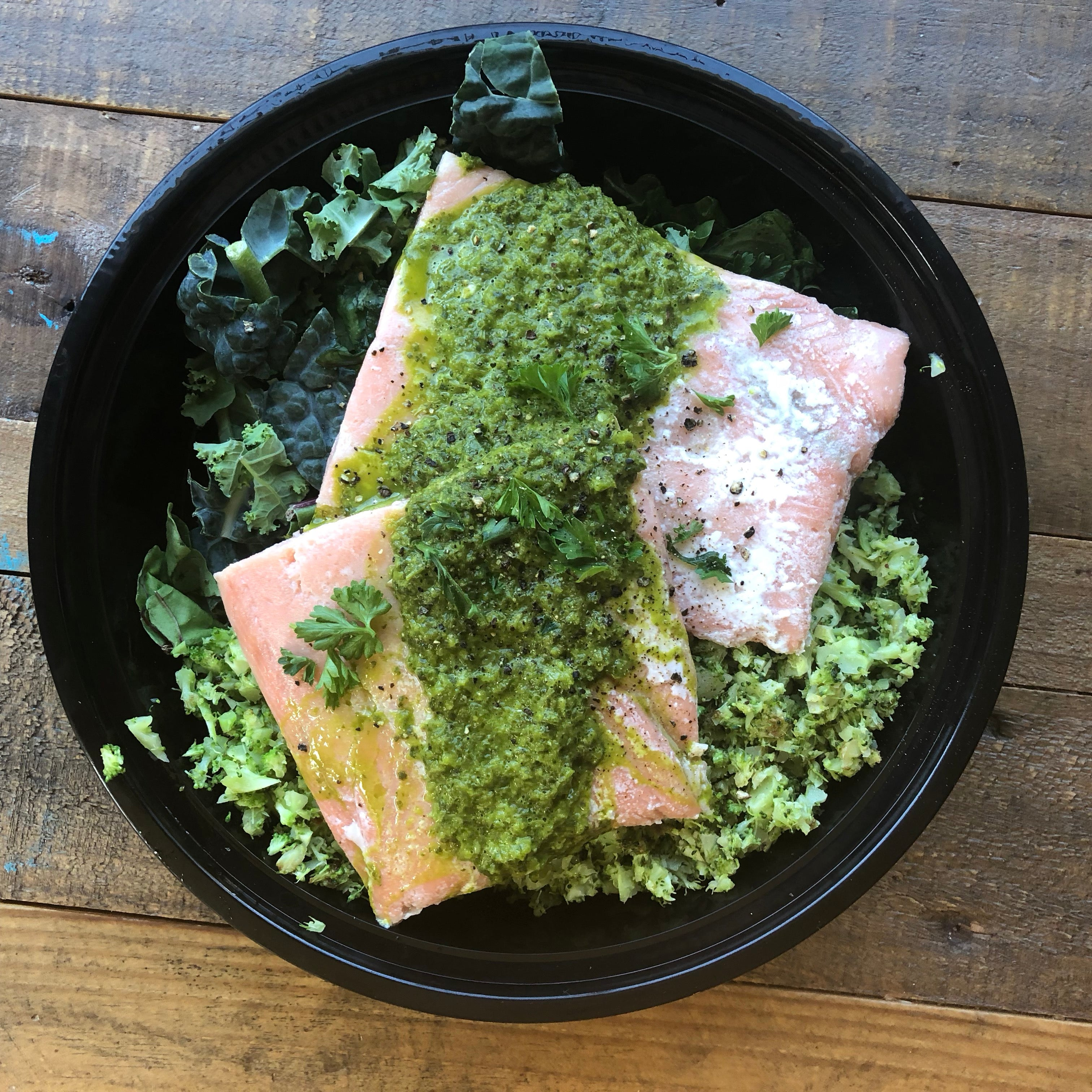 Chimichurri Salmon with Broccoli Rice and greens