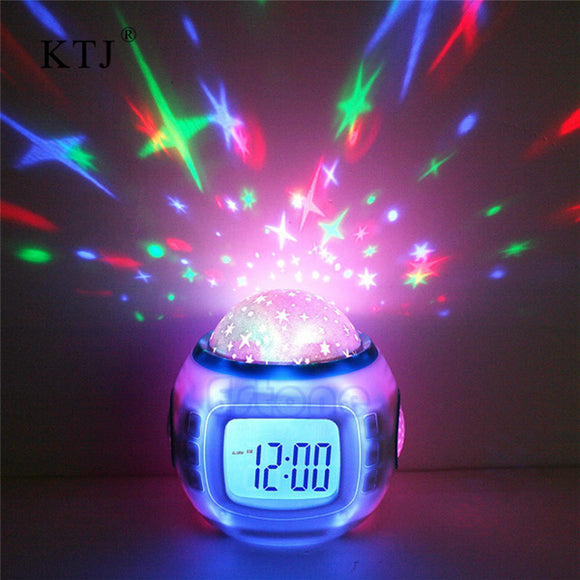 Kids Room Night Light Star Projector with Time Display