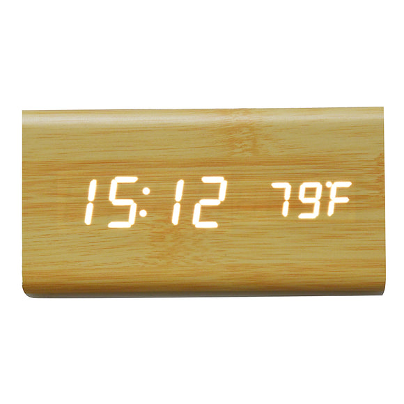 LED Voice Control Bamboo Alarm Clock with Temperature