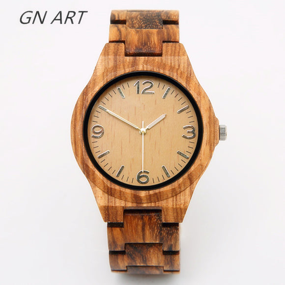 GNART01 Wood Watch Man Creative Sport Bracelet Analog Nature Bamboo Quartz Wristwatch Male Wooden Watches Quartz Movement 2035