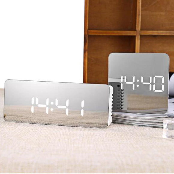 LED Multifunction Alarm Clock with Mirrored Face