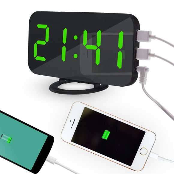 LED Alarm Clock With USB Chargers