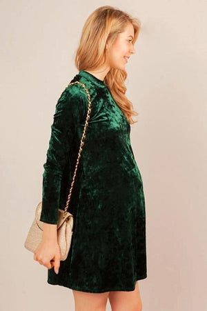 Pine Green Velvet Maternity Dress