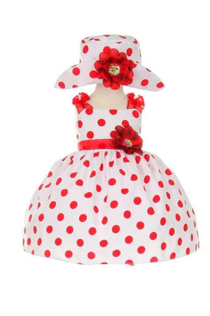 Red Polkadot Ruffle Dress with Hat