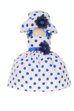 Navy Polkadot Ruffle Dress with Hat