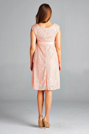 Peach Satin Lace Maternity Dress - ON SALE