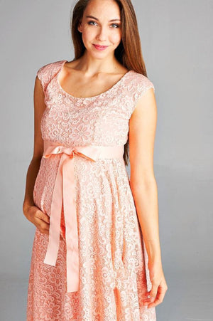 Peach Satin Waist Cap Lace Maternity Dress