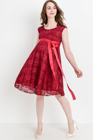 Burgundy Waist Cap Lace Maternity Dress