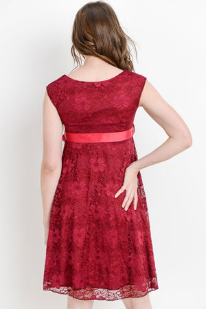 Red Maternity Lace Dress