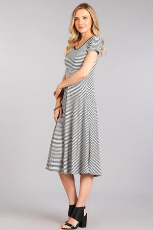 Striped Maternity Midi Dress