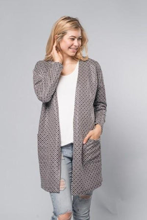 Open Front Allover Pattern Cardigan