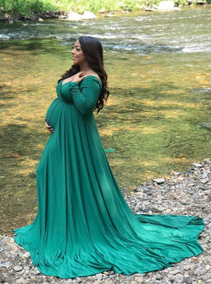 Off Shoulders Long Sleeve Half Circle Maternity Gown