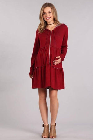 Burgundy Long Body Maternity & Nursing Hoodie