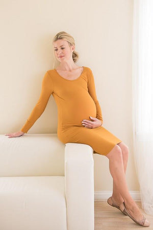 Mustard Yellow Long Sleeve Ribbed Dress