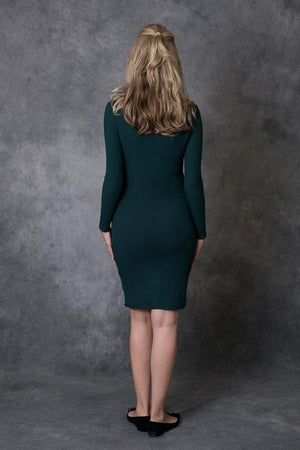 Hunter Green Long Sleeve Ribbed Dress