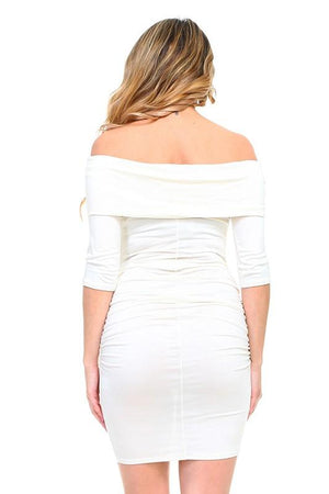 White Off The Shoulder Fitted Maternity Solid Dress