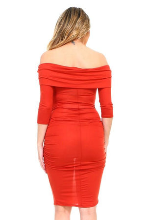 Rust Off The Shoulder Fitted Maternity Solid Dress