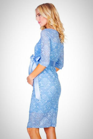 Blue Lace Maternity Dress - ON SALE