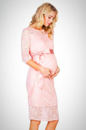 Pink Lace Maternity Dress