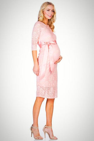 Pink Lace Maternity Dress - ON SALE