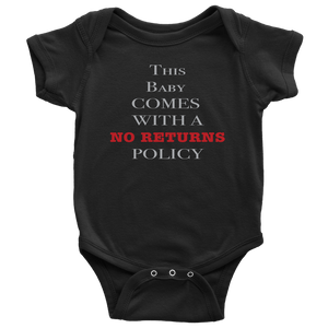 No Returns Baby Onesie NB-24M - Light Print
