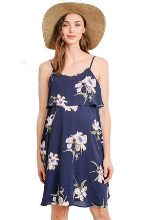 Floral Ruffle Discreet Maternity and Nursing Dress