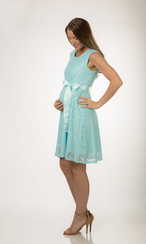 Turquoise Blue Satin Lace Maternity Dress