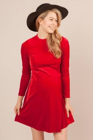 Red Velvet Maternity Dress