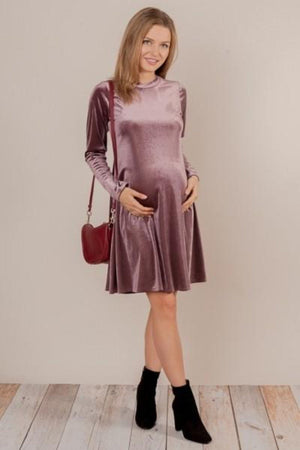 Lavender Velvet Maternity Dress