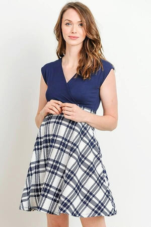 Navy Flare Maternity Dress