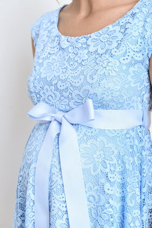 Aqua Satin Lace Maternity Dress