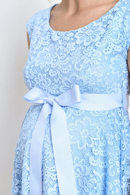 ef20a34becb59 Aqua Blue Lace Baby Shower, Evening, Formal Maternity Dress - Maternity N  Beyond