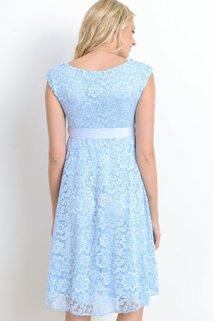 Aqua Satin Lace Maternity Dress - ON SALE