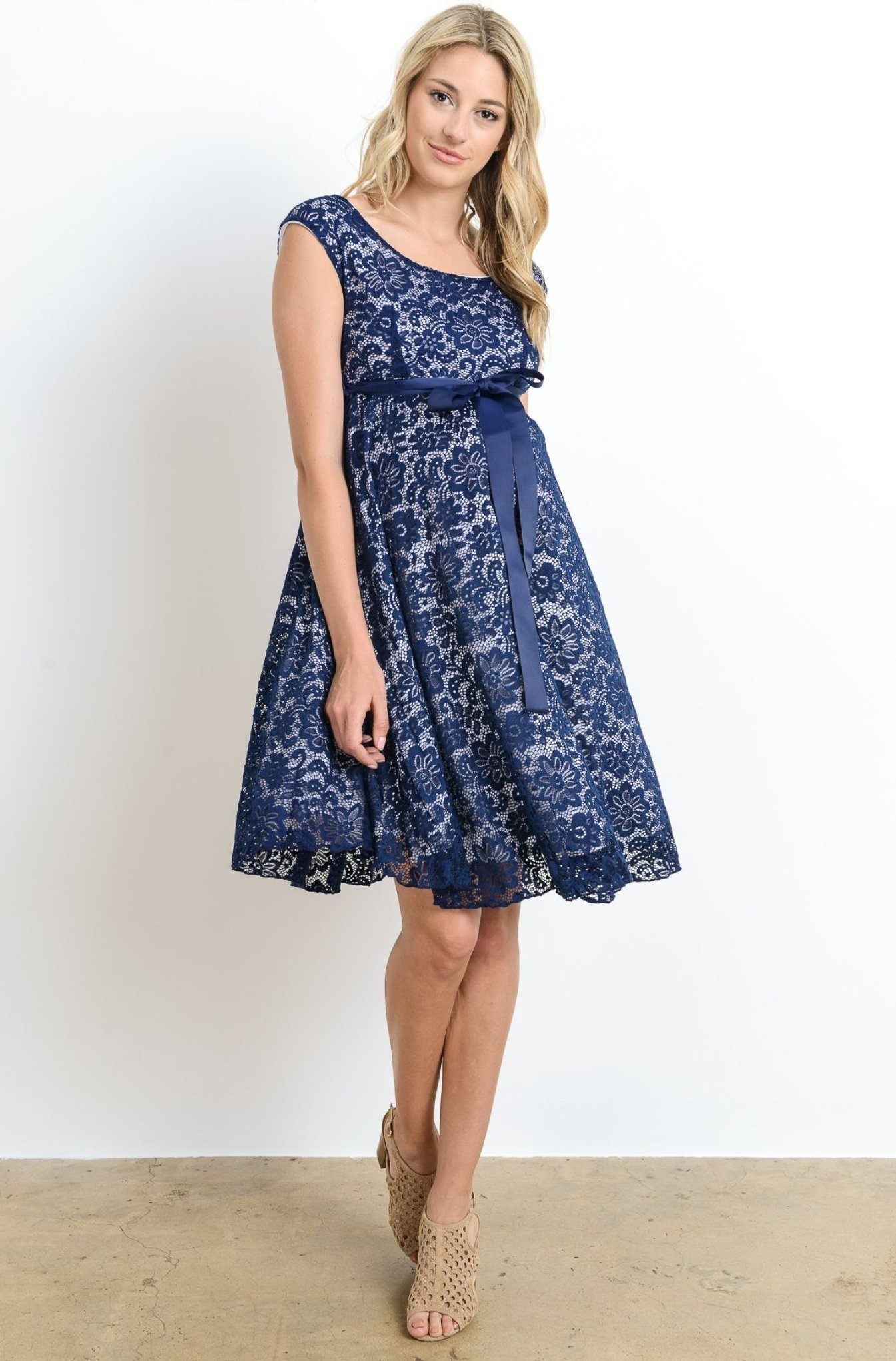 7cc8f47c40fff Navy Blue & White Lace Baby Shower, Evening, Formal Maternity Dress ...