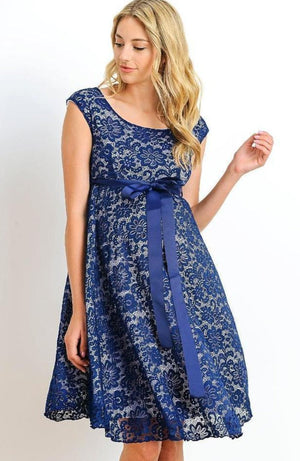 Navy-White Satin Lace Maternity Dress - ON SALE