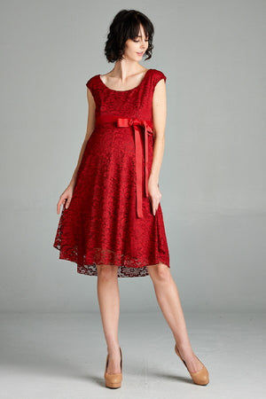 Burgundy Waist Cap Lace Maternity Dress - ON SALE