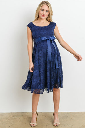 Navy Satin Lace Maternity Dress - ON SALE