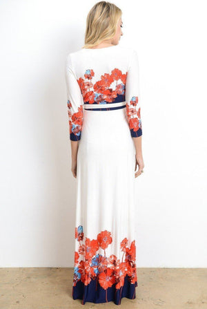 Floral 3/4 Sleeve Maternity and Nursing Maxi Dress
