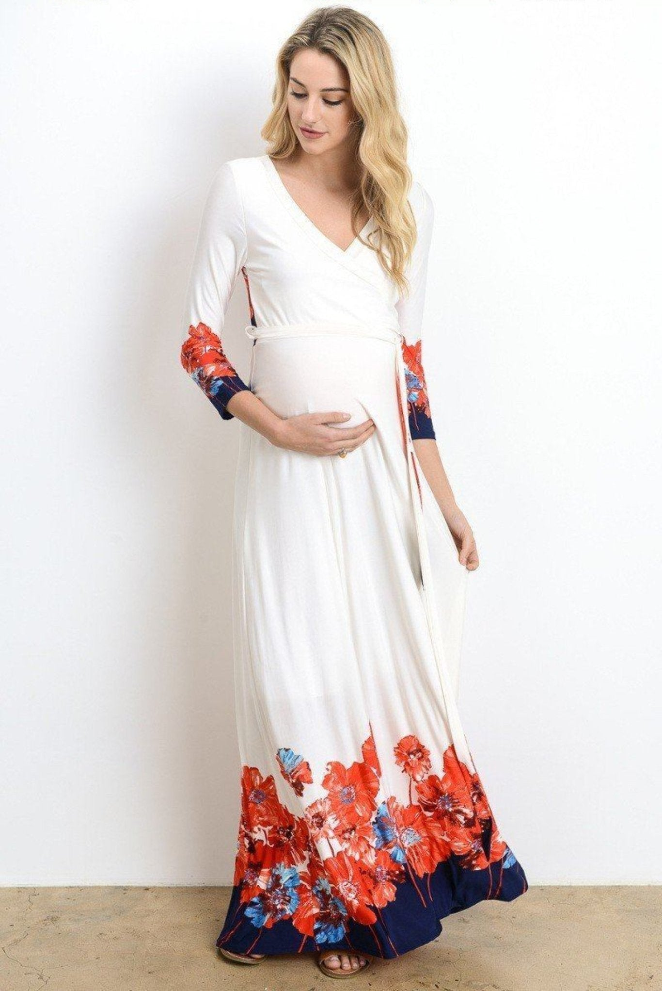 Nursing Maxi Dress with Sleeves