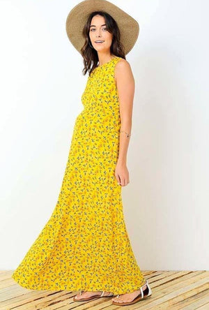 Floral Sleeveless Maternity Maxi Dress